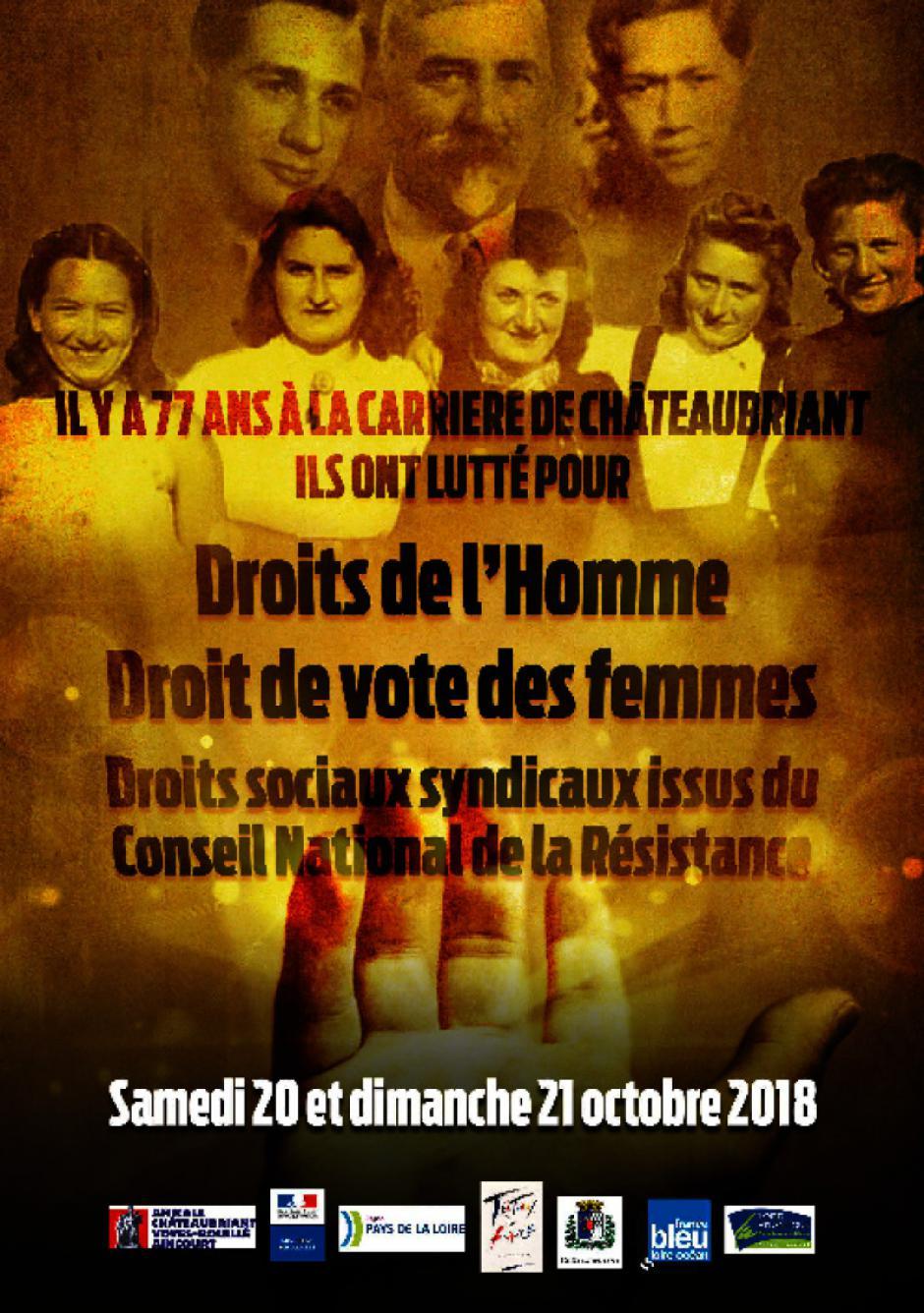 Hommage aux fusillés de Chateaubriant les samedi 20 et dimanche 21 octobre 2018
