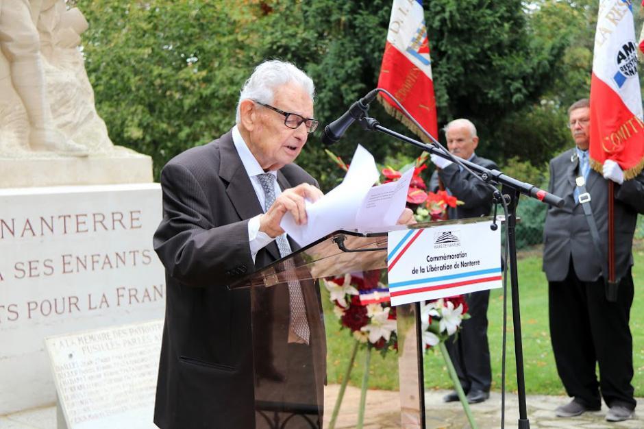 INTERVENTION VINCENT PASCUCCI PRESIDENT D'HONNEUR ANACR NANTERRE pour la commémoration du 72ème anniversaire de la Libération de Nanterre